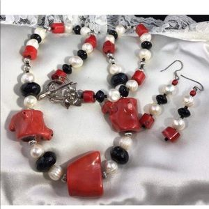 """Jewelry - HandCrafted 22"""" Red Bamboo Coral onyx Necklace Set"""